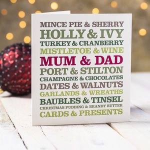 Mum And Dad Christmas Card - cards & wrap