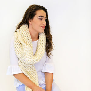 Diy Knitting Kit Beginners Knit Super Chunky Scarf