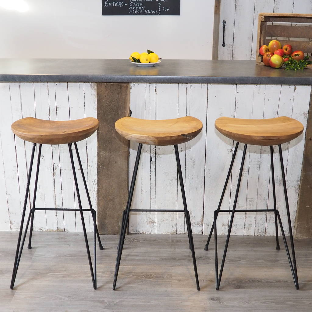 Industrial Wood Bar Stool By Za Za Homes