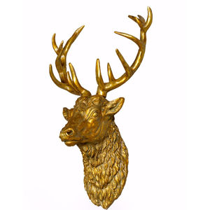 Large Antique Gold Effect Stag Head Wall Trophy - home accessories