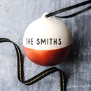 Copper And White Personalised Family Name Bauble