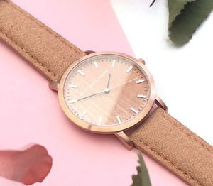 Classic Rose Gold Brown Wool Leather Unisex Wood Watch