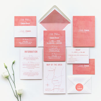Traditional Style Wedding Invitation / Coral Pink