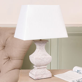 Stone Effect Wood Lamp With White Linen Shade