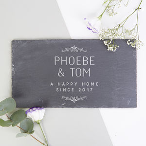 Personalised New Home Gift Slate Serving Board