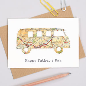 Personalised Fathers Day Map Campervan Card