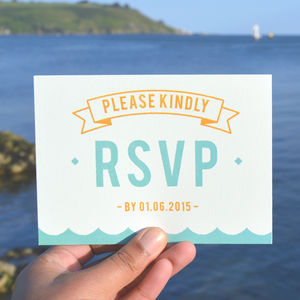 Summer Beach Retro Wedding RSVP Cards - wedding stationery