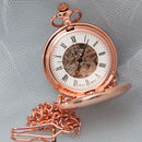 Personalised Skeleton Pocket Watch Rose Gold