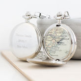 Personalised Map Pocket Watch Silver - men's jewellery