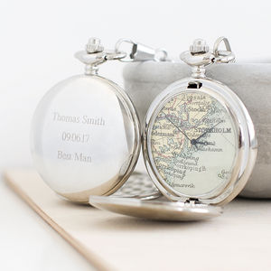 Personalised Map Pocket Watch Silver - wedding gifts for fathers