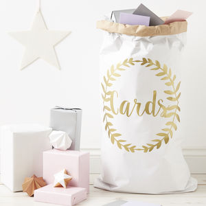 Personalised Laurel Wedding Card Sack - post boxes & card sacks