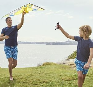 Father And Son Blue Dragonflies Swimming Trunks
