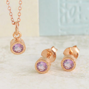 Silver Amethyst Rose Gold Gemstone Jewellery Set - rose gold jewellery