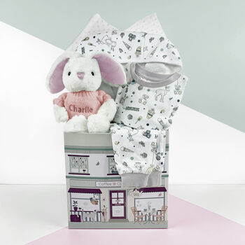 Personalised Baby Girl Bath And Bedtime Hamper