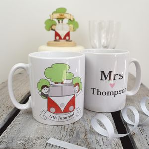 Personalised Mr And Mrs Wedding Day Mug Set