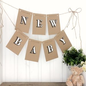 New Baby Bunting, Handpainted Baby Shower Bunting