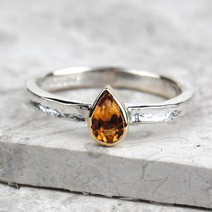 Solid Gold And Silver Citrine Birthstone Alice Ring - rings