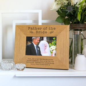 Personalised Father Of The Bride Photo Frame - summer sale