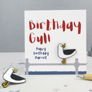 'Birthday Gull' Seagull Enamel Pin Birthday Card