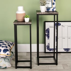 Tall Metal And Wood Plant Stands - side tables