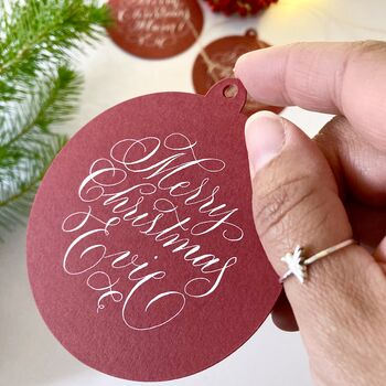 Personalised Calligraphy Bauble Gift Tag