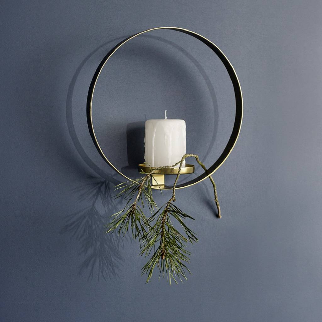 Circular Brass Wall Candle Holder