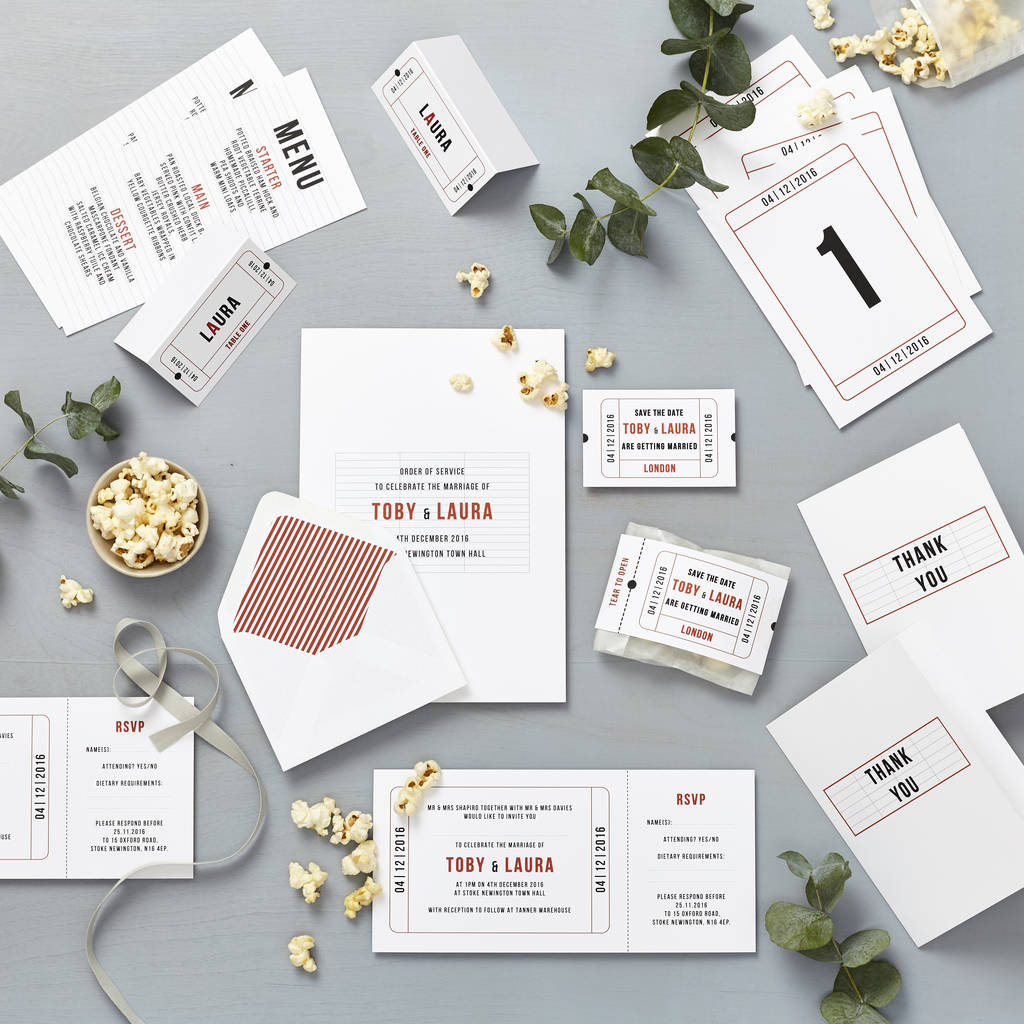 cinema wedding stationery sample pack by lucy says i do ...