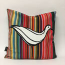 Ducks In A Row Velvet Cushion White Duck