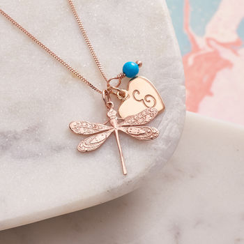 Rose Gold Dragonfly Necklace With Birthstones - Turquoise birthstone for December