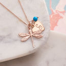 Rose Gold Dragonfly Necklace With Birthstones