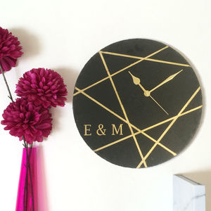 Personalised Geometric Line Clock - home wedding gifts