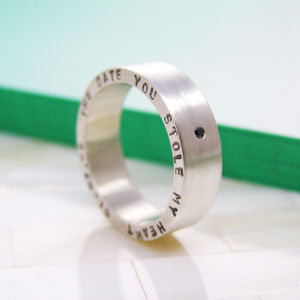 Chunky Personalised Silver Ring - personalised jewellery