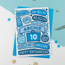 10th Omg Birthday Personalised Illustrated Card Blue