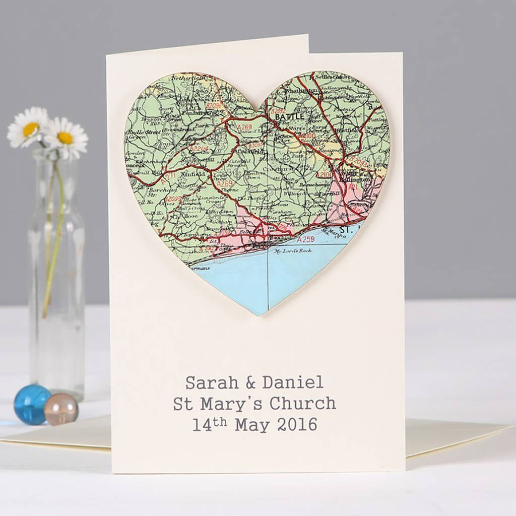 Personalised Map Location Heart Wedding Engagement Card By