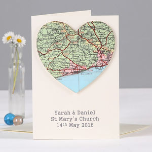 Personalised Map Location Heart Wedding Engagement Card - wedding cards & wrap