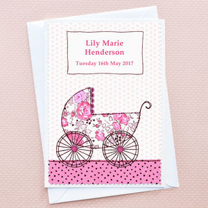 'Baby Girl Pram' New Baby Card
