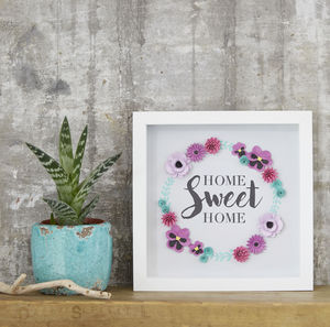 'Home Sweet Home' Framed Floral Art Picture - typography