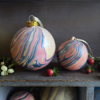 Marbled Ceramic Baubles - Big & Small