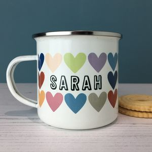Rainbow Heart Personalised Enamel Mug - mugs