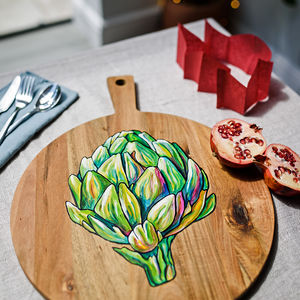 Hand Painted Artichoke Design Wooden Board - re-earthed