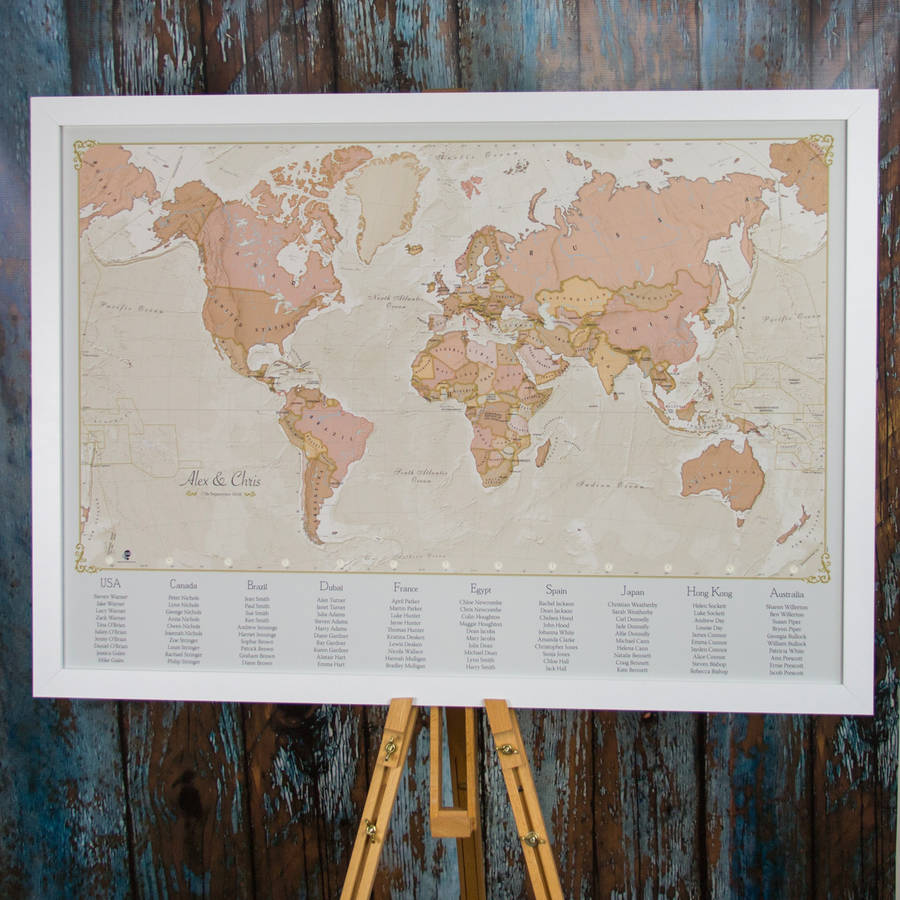 Antique world map wedding table plan by maps international antique world map wedding table plan gumiabroncs Gallery