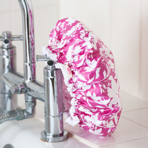 Waterproof Shower Cap In Hot Pink Tropical Print - bathroom