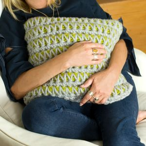 Square Super Chunky Crochet Landscape Cushion - view all new