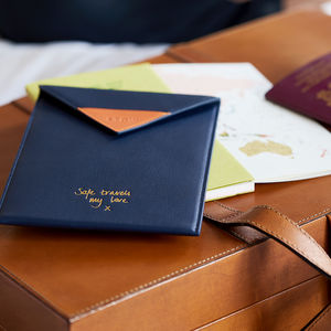 Bespoke Gold Message Travel Wallet With Optional Tech