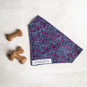 Navy And Pink Paisley Dog Bandana/Scarf