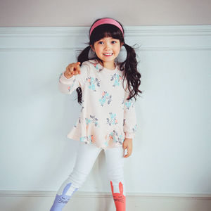 Pastel Flower Tunic And Bunny Leggings Set - clothing