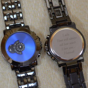 Personalised Wrist Watch Rotary Numbers With Blue Face