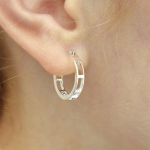 'Mondrian' Handmade Silver Hoop Earrings