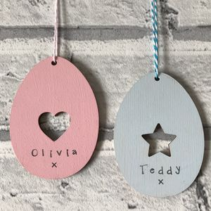Personalised Heart Or Star Easter Egg Deoration