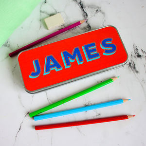 Personalised Bright Name Pencil Tin - pencil cases